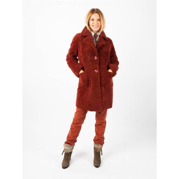Manteau agneau shearling reversible brique . .