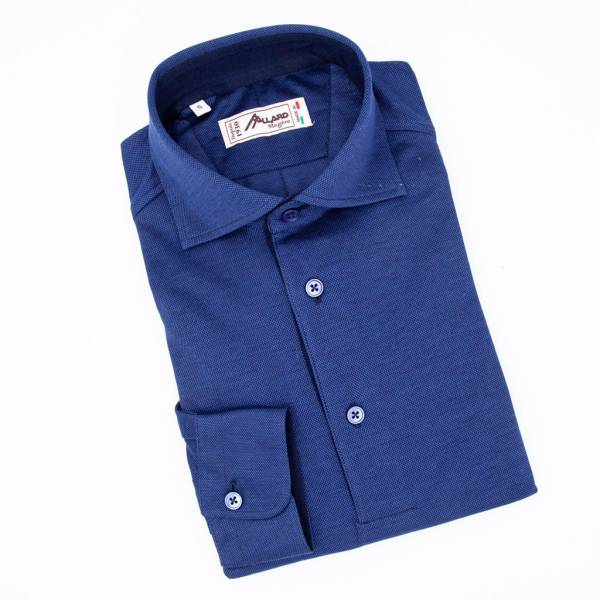 Polo manches longues coton jersey marine dark blue .