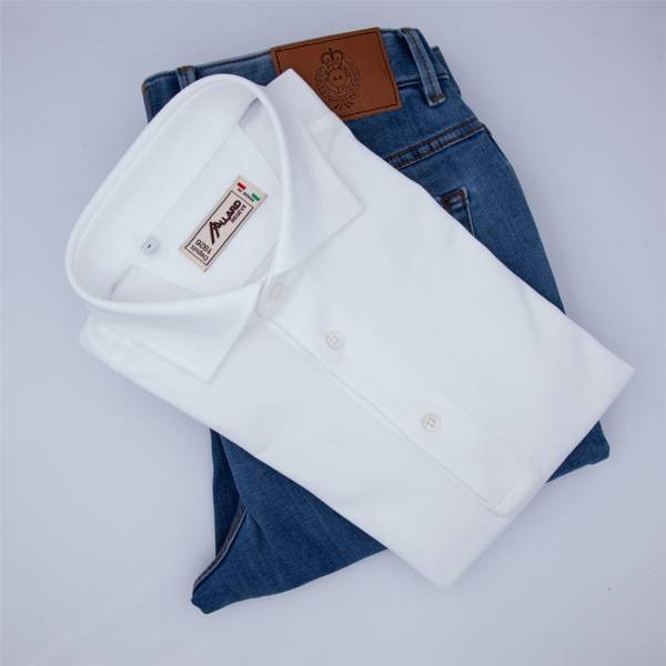 Polo manches longues coton jersey blanc . .