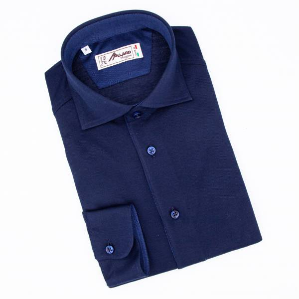 Polo manches longues coton jersey dark blue marine .