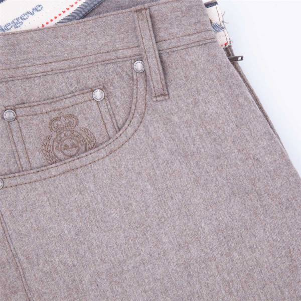 jeans flanelle extensible taupe . .