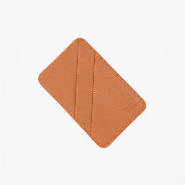 Porte couverts en cuir noisette orange
