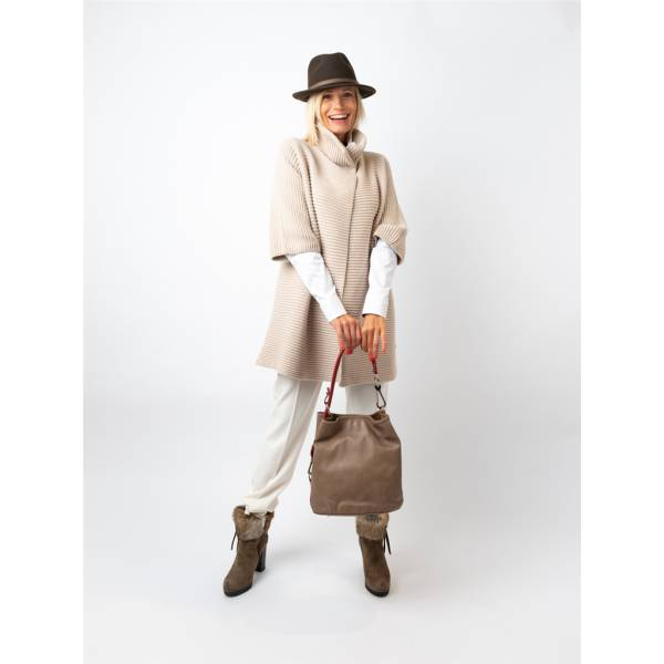 Gilet long cashmere maille anglaise beige . .