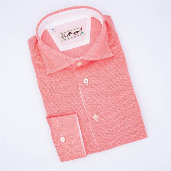 Polo manches longues coton jersey rouge corail blanc .