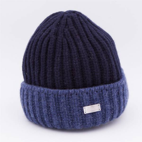 Bonnet cachemire grosse cotes dark blue denim .