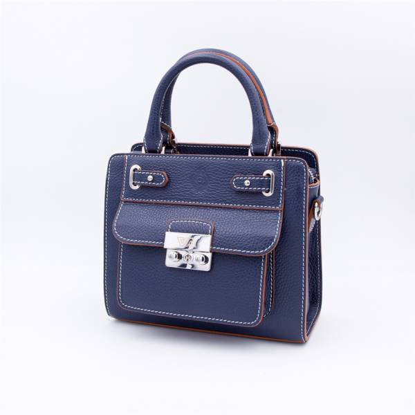 Sac mini 'cubo' cuir grainé navy noisette .