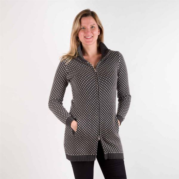 Cardigan long cashmere zippé anthracite blanc .
