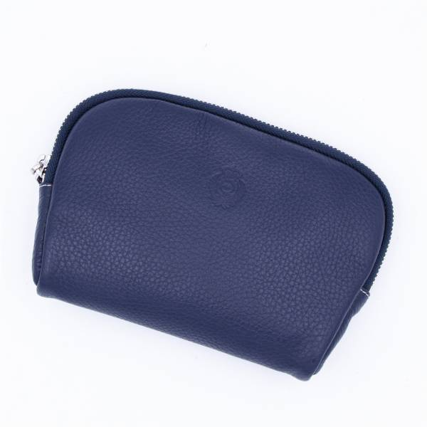 Trousse de maquillage en cuir grainé navy . .