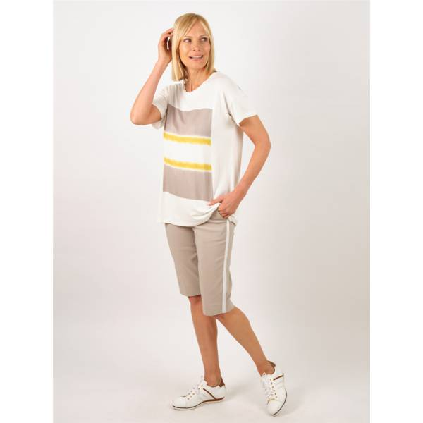 Bermuda sport chic extensible taupe ivoire