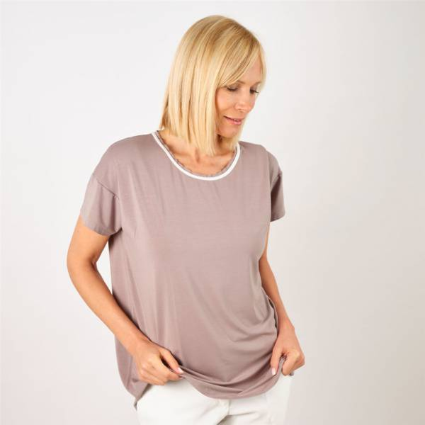 Tee-shirt col contrasté taupe ivoire