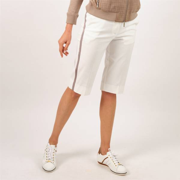 Bermuda sport chic extensible ivoire taupe
