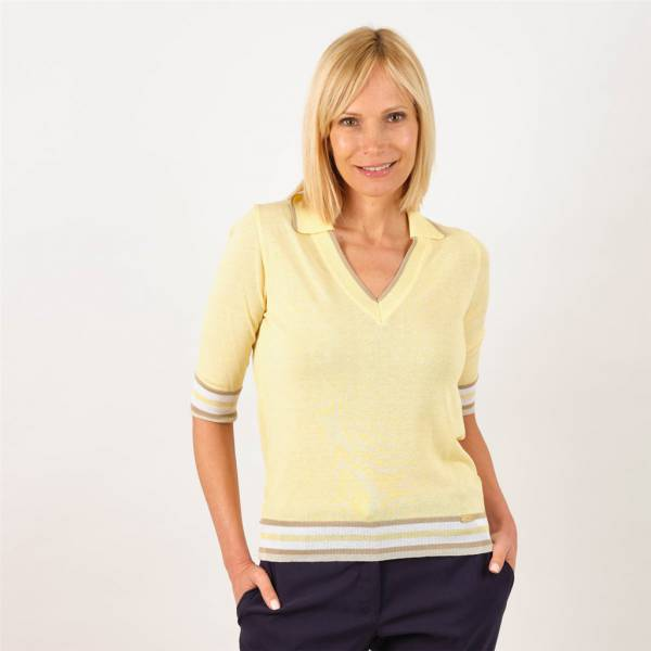 pull v  col polo manches courtes jaune beige .