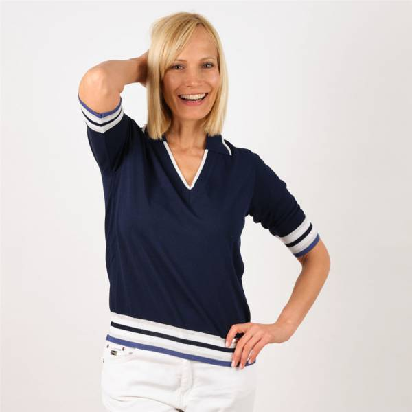 pull v  col polo manches courtes marine jeans .