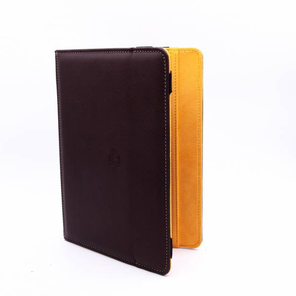 Housse Ipad cuir marron orange .
