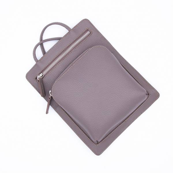 Pochette plate en cuir 2 poches taupe taupe